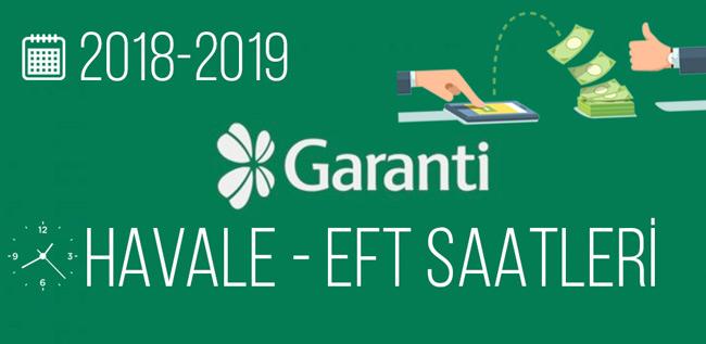 Garanti Bankası Havale ve EFT Saatleri 2019